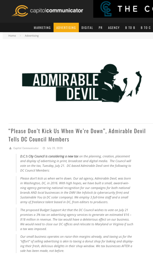 Admirable Devil Letter to DC Council